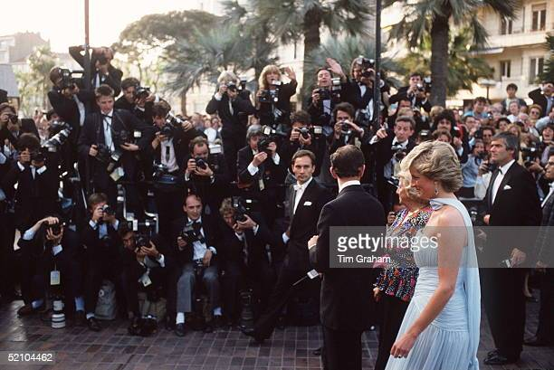 Prince Charles And Princess Diana Arriving At The Cannes Film Festival For A Gala Night In Honour Of Actor Sir Alec Guinness They Are Accompanied By...