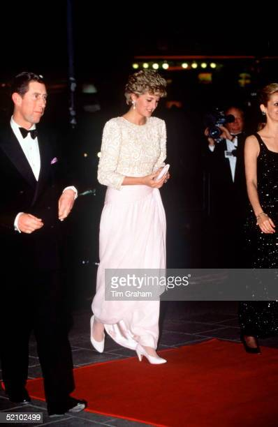 Prince Charles And Princess Diana Arriving At The Royal Variety Performance Dominion Theatre London Diana's Dress Is By Fashion Designer Catherine...