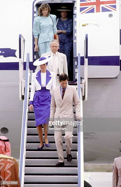 Prince Charles And Princess Diana Arriving In Dubai During Their Tour Of The Gulf States.