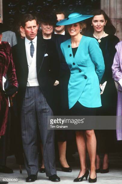Prince Charles And Princess Diana At The Society Wedding Of Miss Camilla Dunne To The Honourable Rupert Soames At Hereford Cathedral Fashion Designer...