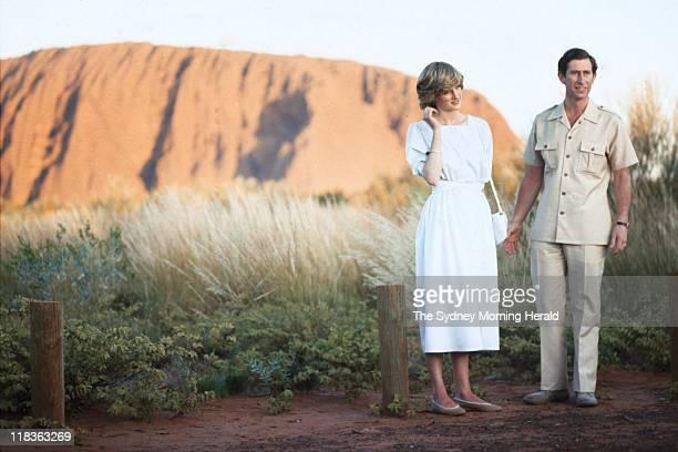 Prince Charles and Princess Diana at Uluru, Northern Territory on 21 March 1983. .