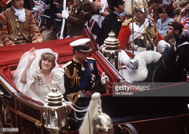 Prince Charles And Princess Diana Being Driven In An Open Carraige Back To Buckingham Palace The Princess Is Waving To The Crowds