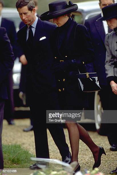 Prince Charles And Princess Diana Entering The Church Of Saint Mary The Virgin At Great Brington On 1st April 1992 Near Althorp For The Funeral Of...