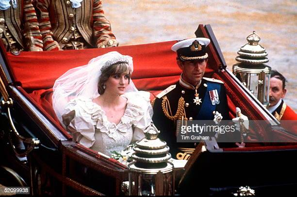 Prince Charles And Princess Diana In An Open Carriage Being Driven Back To Buckingham Palace After Their Wedding At St Paul's Cathedral.
