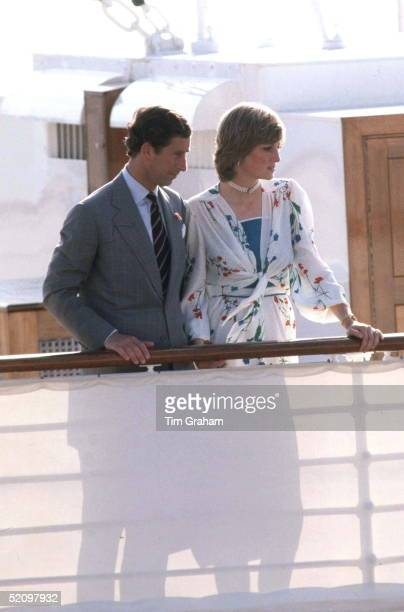 Prince Charles And Princess Diana Leaving On Board Hmy Britannia For Their Honeymoon In Gibraltar The Princess Is Wearing An Outfit Designed By...