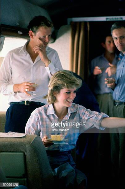 Prince Charles And Princess Diana On Board A Royal Australian Air Force Plane Refuelling In Fiji Before Continuing To Australia With Their Staff...