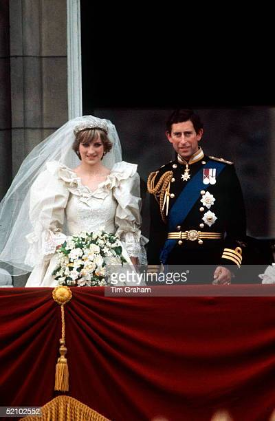 Prince Charles And Princess Diana On The Balcony Of Buckingham Palace On Their Wedding Day The Princess Is Wearing A Wedding Dress Designed By David...