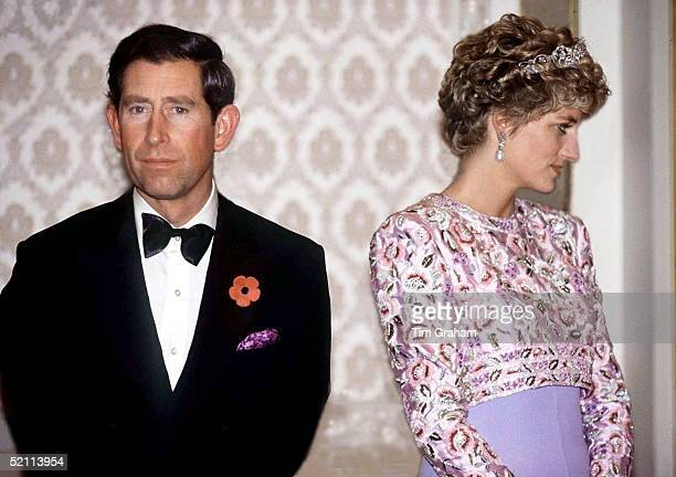 Prince Charles And Princess Diana On Their Last Official Trip Together - A Visit To The Republic Of Korea .they Are Attending A Presidential Banquet...