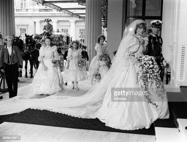 Prince Charles and Princess Diana return from St Paul's cathedral, after their wedding at St Pauls Cathedral. 29th July 1981.