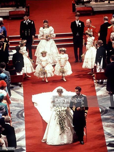Prince Charles And Princess Diana Wedding With Bridesmaids Pageboys Celementine Hambro Catherine Cameron India Hicks Sarah Jane Gaselee Edward Van...