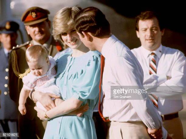 Prince Charles And Princess Diana With Prince William Visiting Australia On Her First Overseas Tour