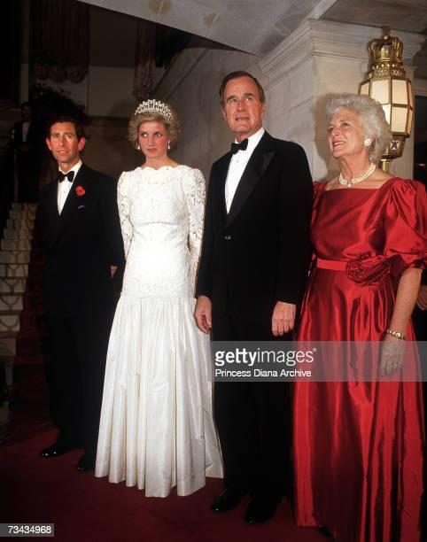 Prince Charles and Princess Diana with USVicePresident George Bush and his wife Barbara at a dinner at the British Embassy Washington DC November...