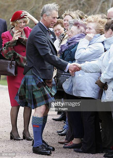 Prince Charles and The Duchess Of Cornwall, Camilla Parker Bowles attend Sunday church service on the first day of their honeymoon, at Crathie...