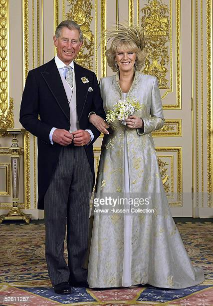 Prince Charles and The Duchess Of Cornwall, Camilla Parker Bowles pose in the white drawing room for the Official Wedding group photo following their...