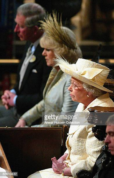 TRH Prince Charles and The Duchess Of Cornwall Camilla Parker Bowles sit with HM Queen Elizabeth The Duke of Edinburgh and The Duke of York when they...