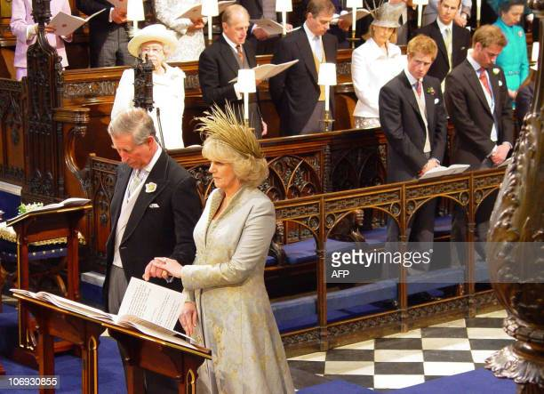 Prince Charles and the Duchess of Cornwall formerly Camilla Parker Bowles stand during the Service of Prayer and Dedication in St George's Chapel...