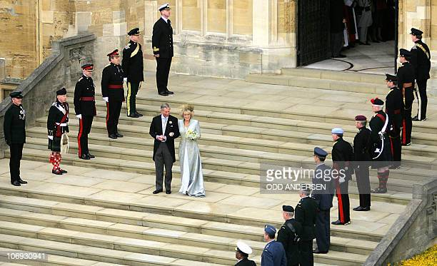 Prince Charles and the Duchess of Cornwall formerly Camilla Parker Bowles walk from St George's Chapel at Windsor Castle 09 April 2005 after their...