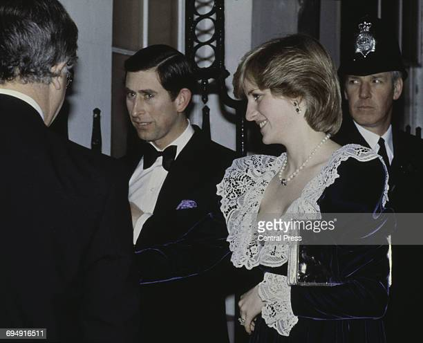 Prince Charles and the Princess of Wales arrive for a British Film Institute dinner at 11 Downing Street the official residence of the Chancellor of...