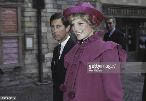 Prince Charles and the Princess of Wales at Westminster Abbey London for a centenary service for the Royal College Of Music 28th February 1982