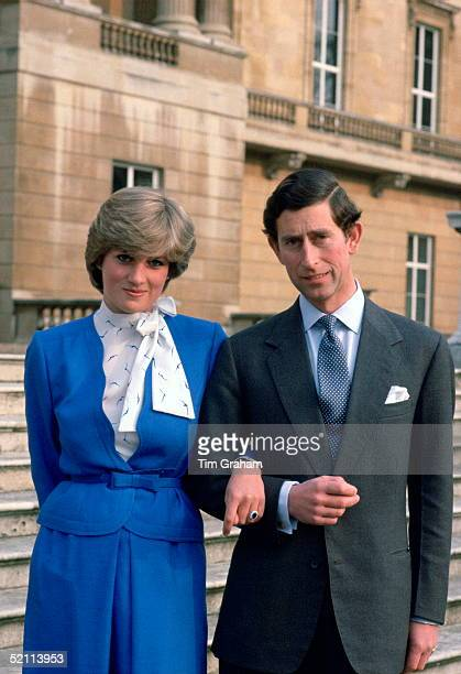 Prince Charles Arminarm With His Fiance Lady Diana Spencer On The Steps Of Buckingham Palace For A Photocall On The Day They Announced Their...