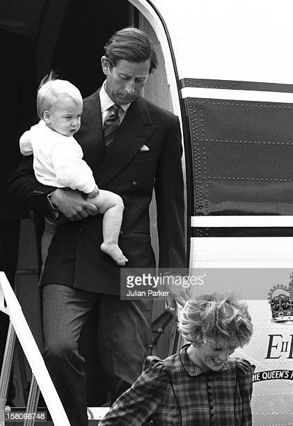 Prince Charles Arrives At Aberdeen Airport Carrying Prince William From The Queens Flight On Their Way To Balmoral Estate With The Princess Of Wales