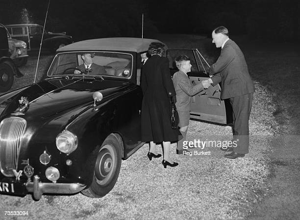 Prince Charles arrives at Cheam School in Berkshire to start his first term, and is introduced to the headmaster, Peter Beck, 23rd September 1957....