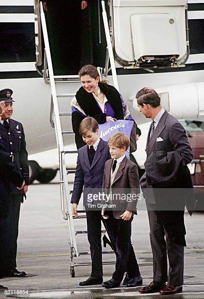 Prince Charles Arriving With His Sons Prince William And Prince Harry And Their Nanny Tiggy Leggebourke At Zurich Airport Switzerland At The...