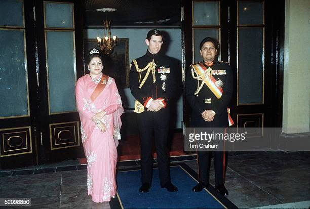 Prince Charles At A Banquet In The Kings Guest Palace Nepal With Princess Komal And Prince Gyanendra