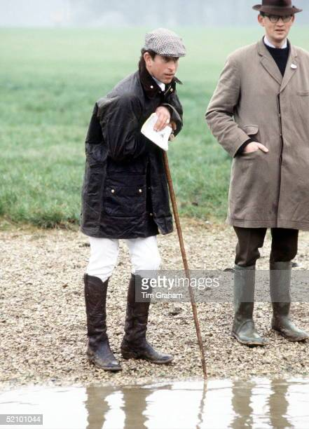 Prince Charles At Cross Country Hunt Event In Cirencester Wearing Green Barbour Style Jacket And Flat Cap