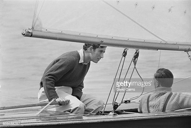 Prince Charles at the helm of his 20ft Flying Fifteen yacht 'Coweslip' in a handicap race off the Isle of Wight during the Cowes Week regatta 3rd...