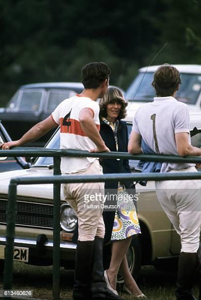 Prince Charles chats to Camilla Parker-Bowles at a polo match, circa 1972.