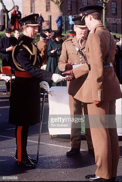 Prince Charles Colonel In Chief Of The Welsh Guards At Clive Hill Barracks Presenting Traditional Leeks To The 1st Battalion Welsh Guards As A Symbol...