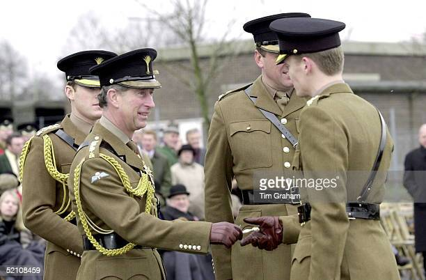 Prince Charles Colonel Of The Welsh Guards Presenting A Leek To Members Of The Battalion During His St David's Day Visit To Aldershot Hampshire
