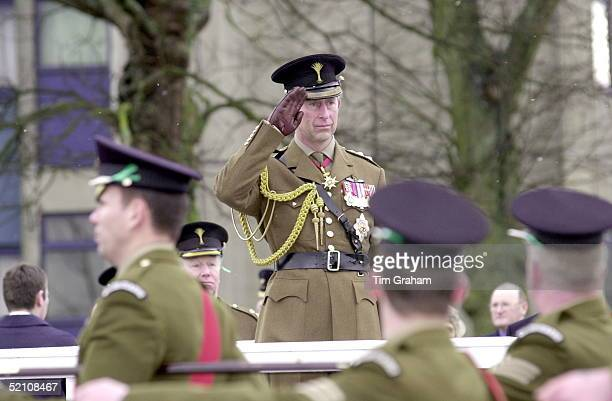 Prince Charles Colonel Of The Welsh Guards Saluting As Members Of The Battalion March Past During His St David's Day Visit To Aldershot Hampshire It...