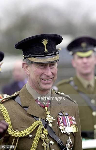 Prince Charles Colonel Of The Welsh Guards Visiting The Welsh Guards To Present Members Of The Battalion With Leeks On St David's Day In Aldershot...