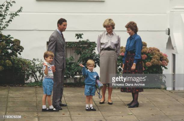 Prince Charles, Diana, Princess of Wales and Prince William attend Prince Harry's first day at Mrs Mynors' nursery school in London, September 1987....