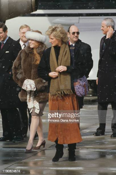 Prince Charles Diana Princess of Wales and Sarah Duchess of York arrive in Zurich Switzerland for a skiing holiday February 1988