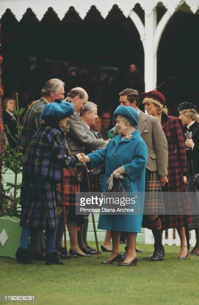 Prince Charles, Diana, Princess of Wales and The Queen Mother attend the Braemar Games, an annual Highland Games Gathering at Braemar in Scotland,...