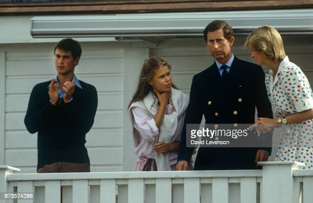 Prince Charles Diana Princess of Wales with Prince Edward and Lady Sarah Armstrong Jones at Guards Polo club in Windsor on July 24 1983