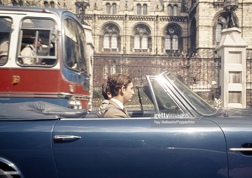 Prince Charles driving his Aston Martin in Kensington, London on 1st May 1971.
