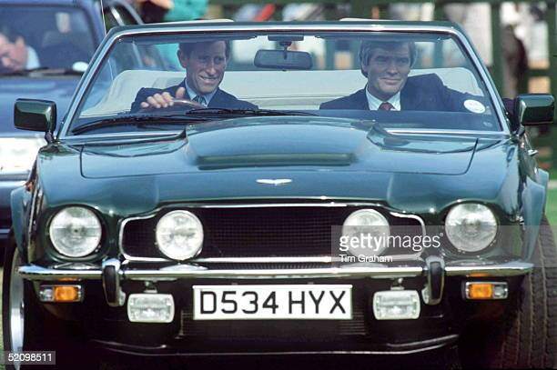 Prince Charles Driving His Green Aston Martin V8 Volante Convertible Car Which Was A Gift From The Amir Of Bahrainhis Highness Sheikh Isa Bin Sulman...
