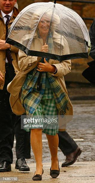 Prince Charles Duke of Rothesay and Camilla Duchess of Rothesay visit the RNLI lifeboat station on May 30 2007 in Anstruther in Scotland
