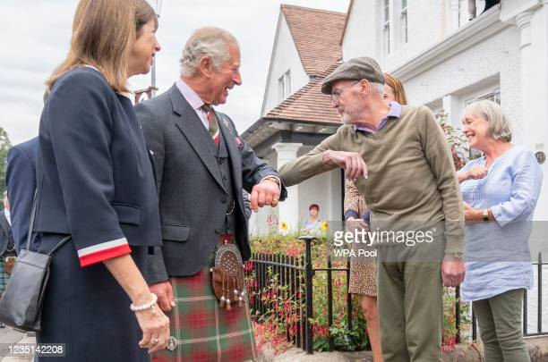Prince Charles, Duke of Rothesay meets members of the local community during a visit to Alloway Main Street and Robert Burns' Cottage on September 9,...