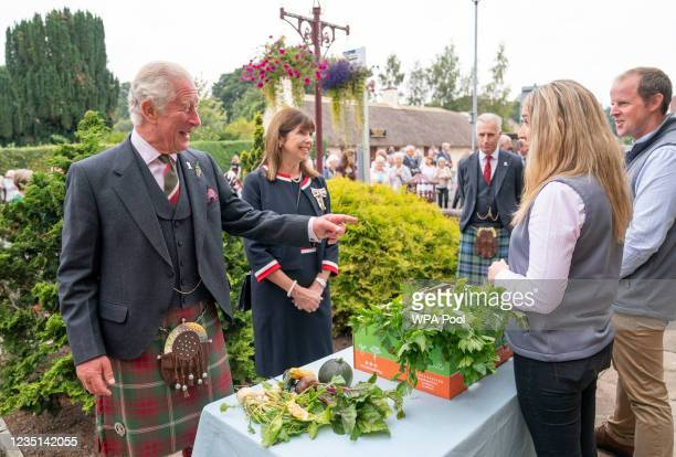 Prince Charles, Duke of Rothesay meets with food and craft producers outside the Village Hall during a visit to Alloway Main Street and Robert Burns'...
