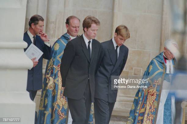 Prince Charles Earl Spencer and Prince William at Westminster Abbey for the funeral service for Diana Princess of Wales 6th September 1997