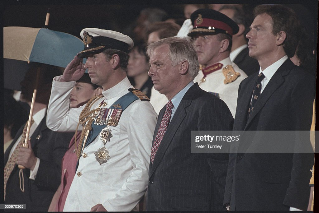 Prince Charles, Former Governor Chris Patten, and Prime Minister Tony Blair at the 1997 Hong Kong Handover Ceremony : News Photo