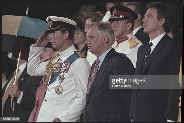 Prince Charles Former Governor Chris Patten and Prime Minister Tony Blair at the 1997 Hong Kong Handover Ceremony