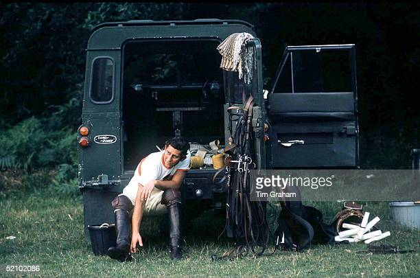 Prince Charles Getting Changed For Polo At Smiths Lawn Polo Windsorsitting In The Back Of His Four Wheel Drive Land Rover Car