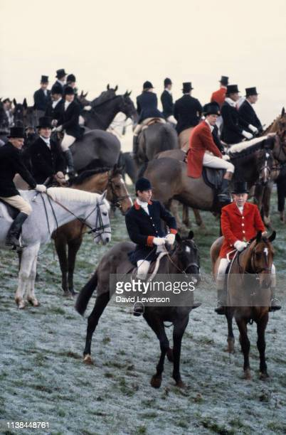 Prince Charles goes foxhunting with the 'Quorn Hunt' on December 6 1982 near Melton Mowbray in Leicestershire