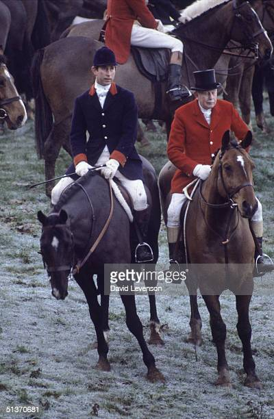 Prince Charles goes foxhunting with the 'Quorn Hunt' on December 6, 1982 near Melton Mowbray in Leicestershire.